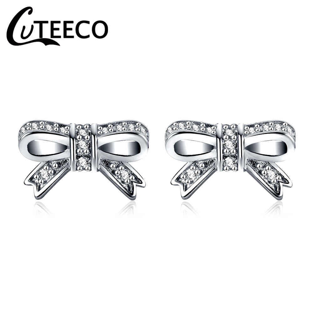 fd6b9908a CUTEECO 2018 Fashion Hight Quality Silver Pandora Earring Sparkling Bow  Stud Earrings With Clear CZ Women