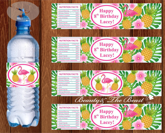 Flamingo Water Bottle Labels Pineapple Party Birthday ...