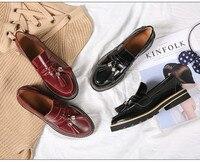 Для женщин весна осень лоферы с кисточками обувь Британский стиль из бычьей кожи, на плоской подошве обувь BY494