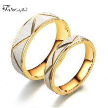 FairLadyHood Popular Jewelry Wholesale  Stainless Steel Couple Rings Gold Color Men And Women