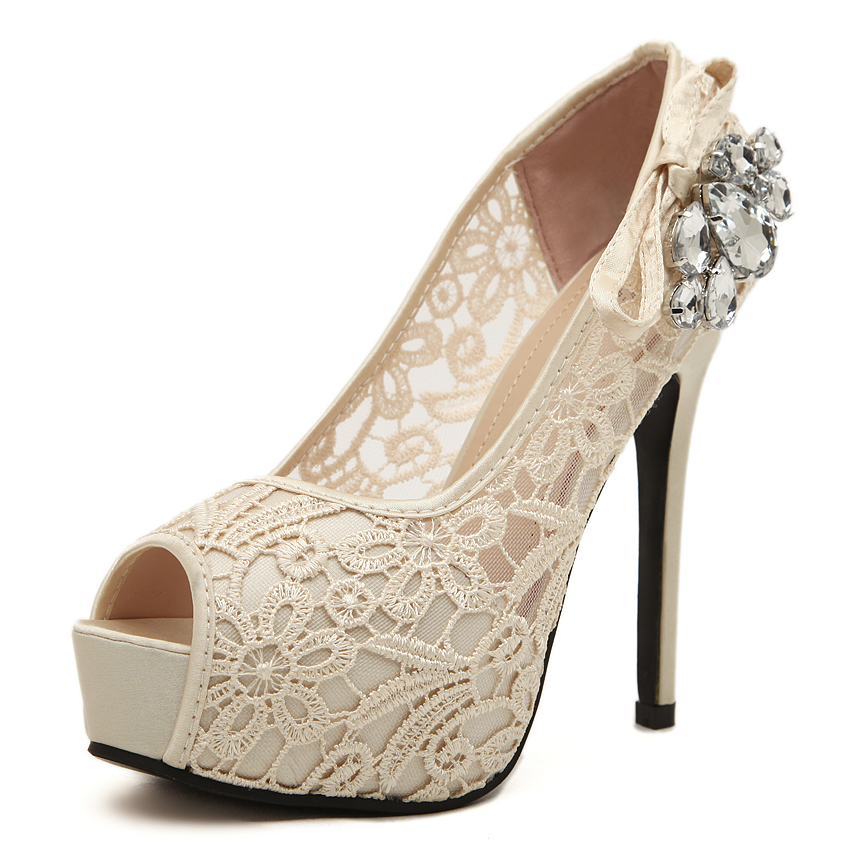 Women Wedding Shoes Sexy Lace Peep Toe High Heels Platform Pumps Summer Dress Pumps Womens Sweet Bow Bridal Shoes avvvxbw 2017 spring women s pumps high heels platform shoes diamond peep toe thin heels sexy women s wedding shoes pumps c372