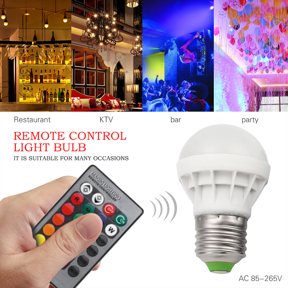 E27 RGB LED Bulb Lamp 9 W Light  AC85-265V With Remote Control 24 Keys Room Lighting Color Changing