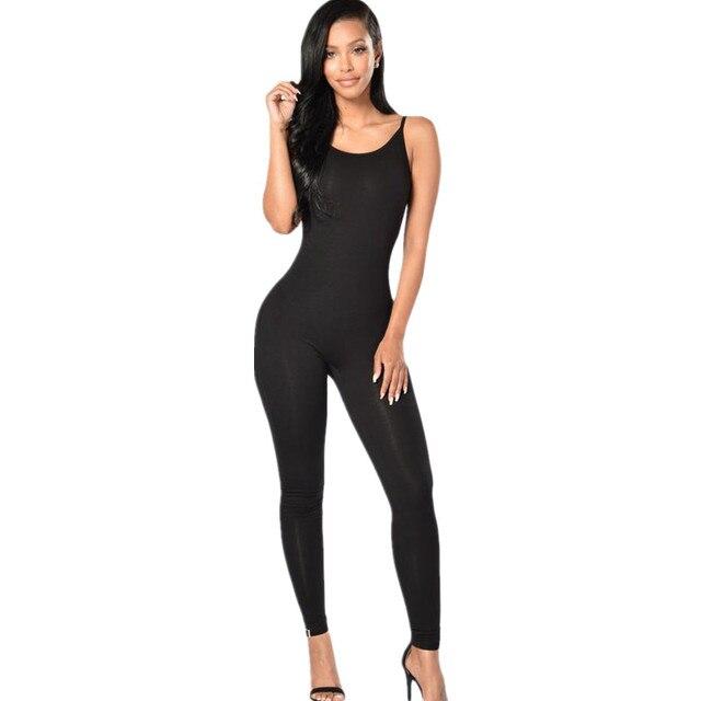 Cfanny 2016 Sexy Negro Correas Espaguetis Simple Estiramiento Bodycon Mamelucos Womens Jumpsuit Verano Mujeres Del Mono Monos Elegantes