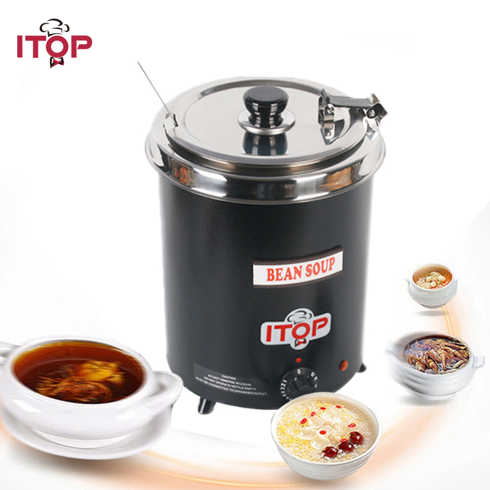 ITOP 5.7L Electric Soup Pots WARMING Kettle Boiler Stainless Steel Black Iron Spraying Body Soup Kettle With Lids Kitchen Tools