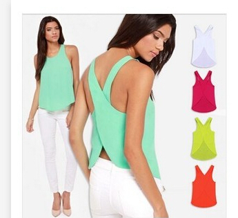 50pcs/lot fedex fast free shipping Summer Women Candy Color Casual v-neck Sexy Backless Strap Chiffon Tops lady Vest
