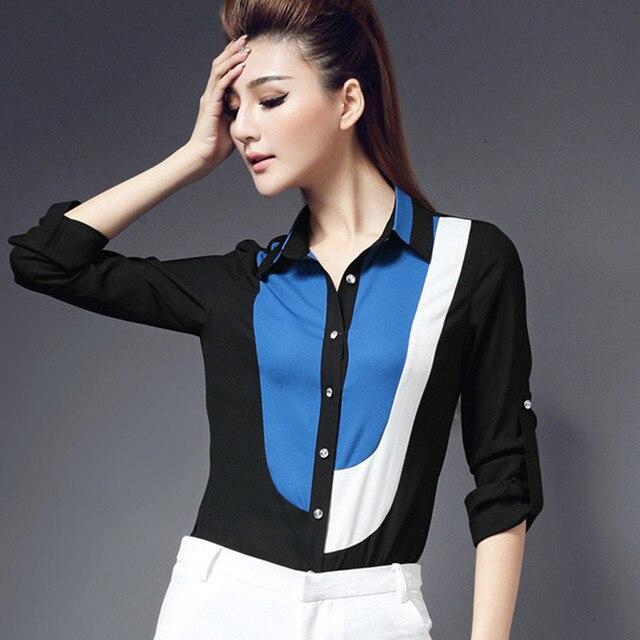 419ae9bc1e62f5 2016 Hot Fashion XXXX 6XL Plus Size Chiffon Blouse Shirt Cardigans  Patchwork Blusas Femininas Women Clothing Tops Casual Blouses