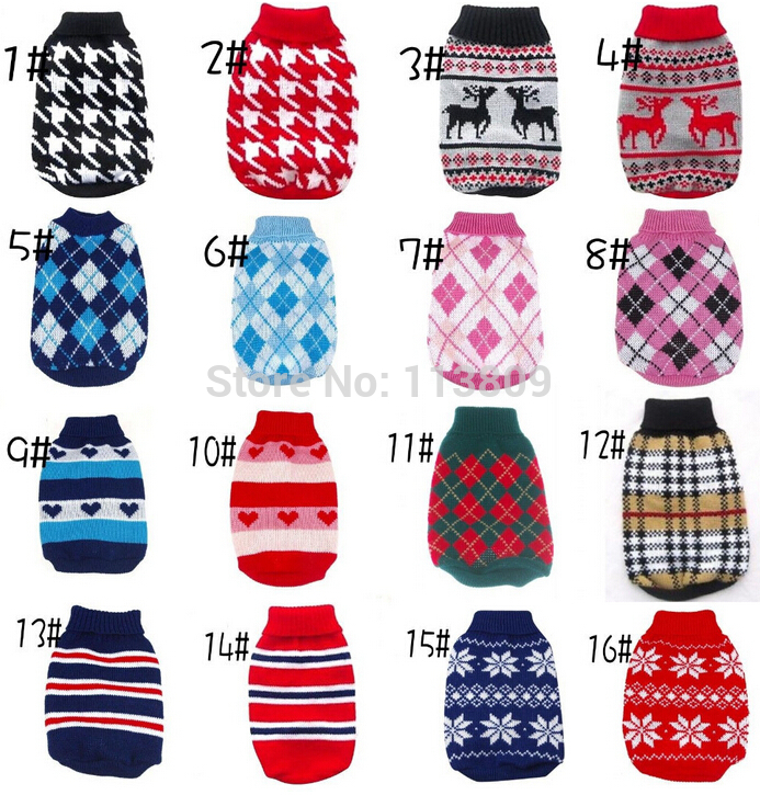 XS -XXL HOT CHEAP NEW DOG Sweater Pet Sweater Diverse Farver Hund Strikket Frakke til Små Hunde Engros Detailhandel Gratis Levering