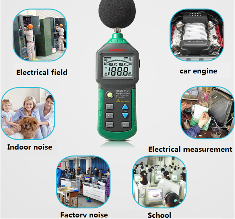 2017 New MASTECH MS6702 Digital Sound Level Meter Noise Meter dB Decible Meter Tester Temperature Humidity Meter Thermometer mc7812 induction tobacco moisture meter cotton paper building soil fibre materials moisture meter