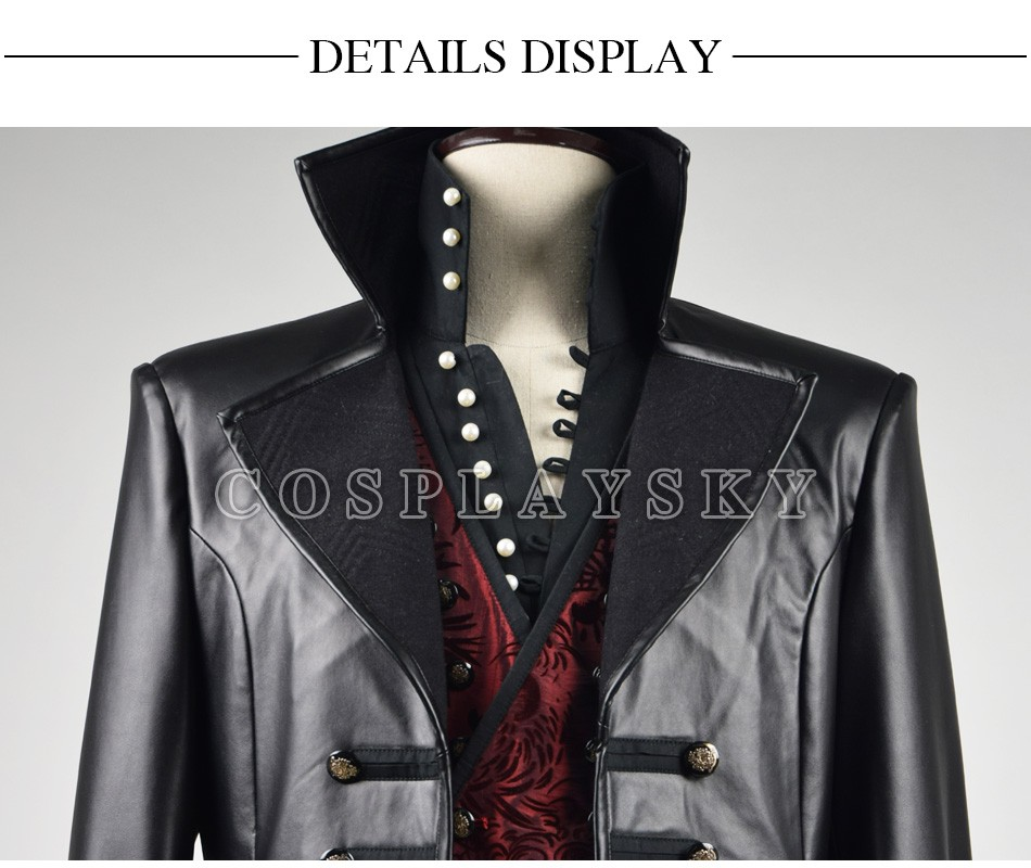 Once Upon A Time Captain Hook Cosplay Costume With Red Vest Halloween Costume for Men_03
