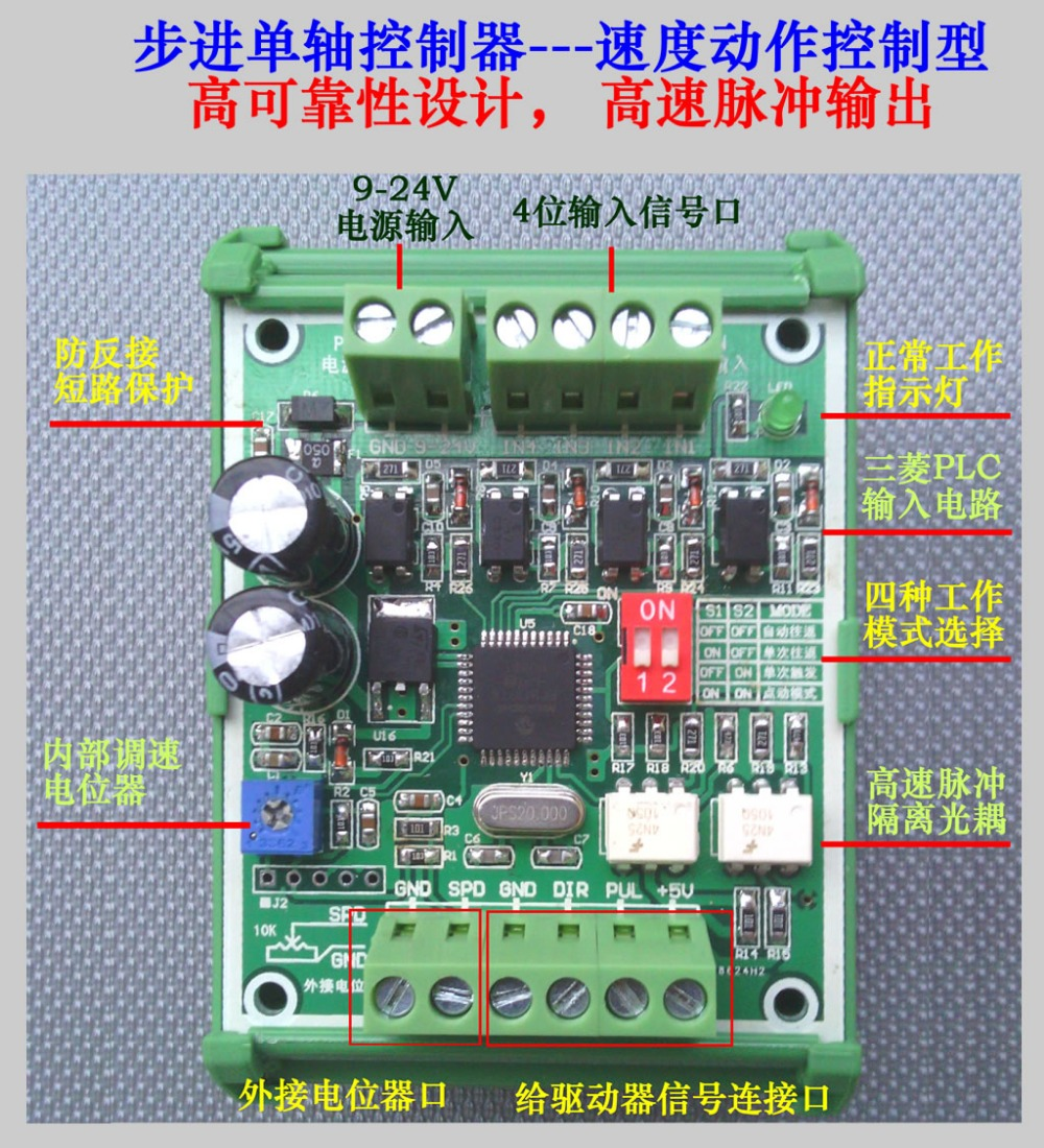 Super Anti-jamming Stepper Motor Controller Board SPC-1 Single-axis Stepper Motor Pulse Generator With DIN Rail Support
