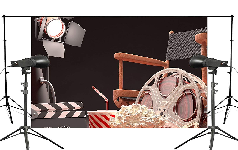 Black Background Projector Chair Popcorn Cola Retro Cinema Scene Studio Photography 150x220cm