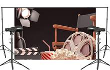 Black Background Projector Chair Popcorn Cola Retro Cinema Scene Studio Photography 150x220cm