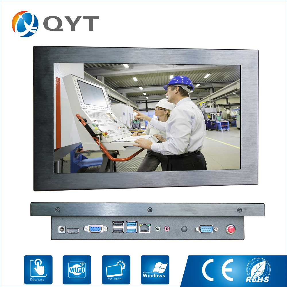 цена на QYT Metal casing 11.6inch all in one computer industrial mini pc Intel 3855U 1.6GHz 1366*768