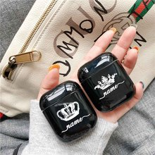 Crown Couple Hard Earphone Case For Apple Airpods Protective DIY Name Customized Clear Luxury Cover Cases