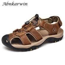 Hommes en cuir extérieur sandales Trekking Sandalias Hombre hommes chaussures sandale été homme Sandles Sandali Uomo décontracté sans lacet plate forme