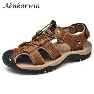 Image 1 - Men Leather Outdoor Sandals Trekking Sandalias Hombre Mens Shoes Sandal Summer Man Sandles Sandali Uomo Casual Slip On Platform