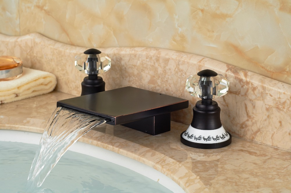 Modern Oil Rubbed Bronze Square Waterfall Bathroom Basin Faucet Double Handles wholesale and retail contemporary oil rubbed bronze led waterfall