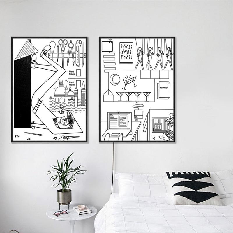 Black And White Artwork For Bedroom: Kids Bedroom Decor Cartoon Illustration Cartoon Black And