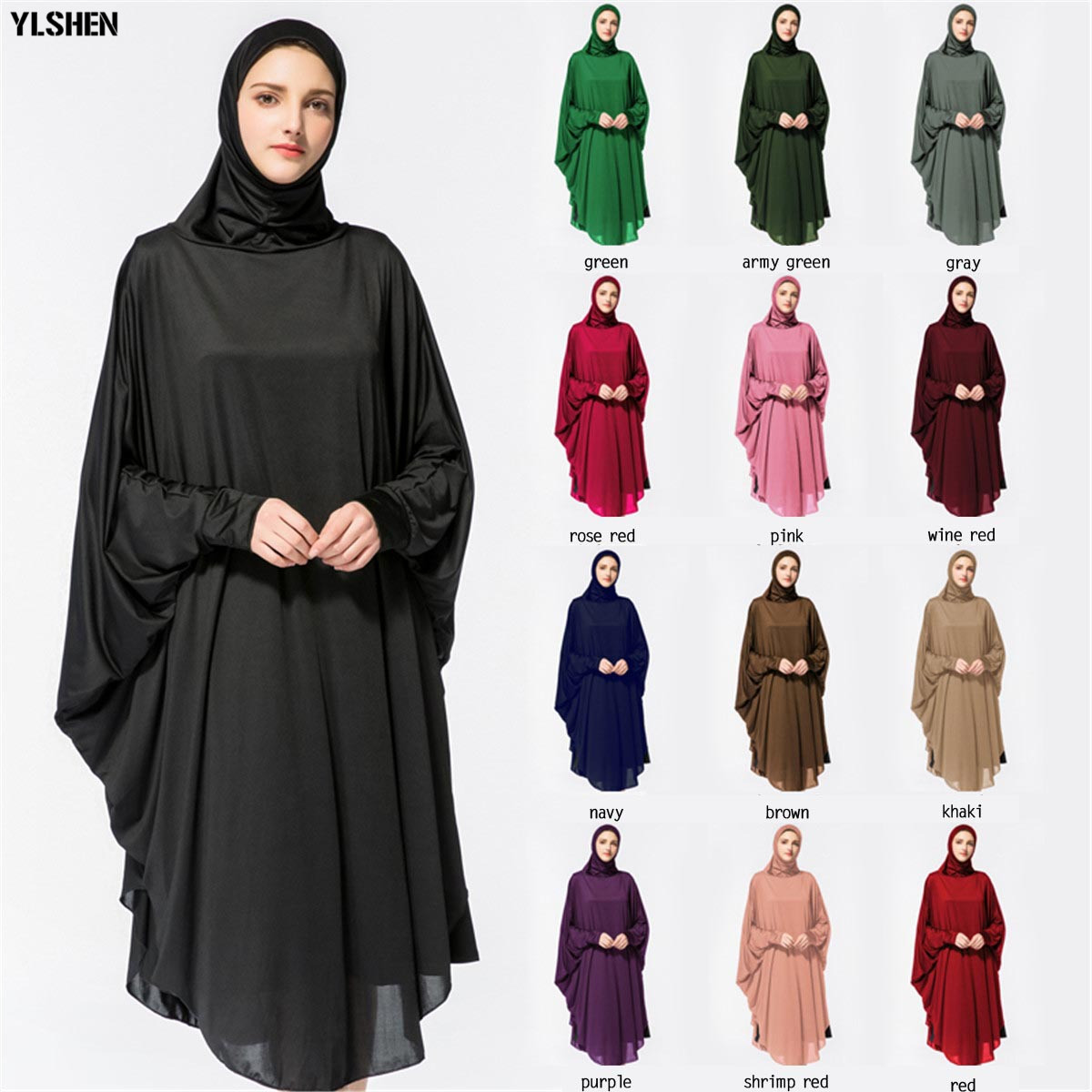 Ramadan Abaya Dubai Muslim Dress Prayer Clothing Highly Elastic Hijab Robes Arabian Women Islamic ClothingTurkey Islam Elbise