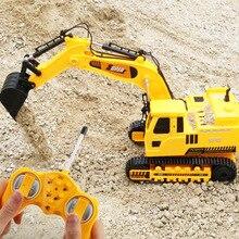 Kablosuz uzaktan kumanda araba iş makinesi 12 kanal madencilik kanca makinesi şarj Forklift buldozer modeli Rc oyuncak mağazası