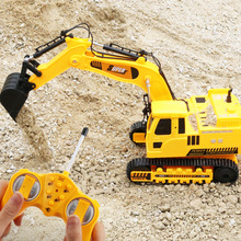 Wireless Remote Control Car Engineering Vehicle 12 Channels Mining Hook Machine Charging Forklift Bulldozer Model Rc Toy Store