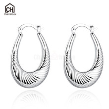 Simple Big Circle Hoop Earrings for Women Spiral Pattern Women Earring Fashion Jewelry Ear Cuff Hypoallerge Accessories Not Fade(China)