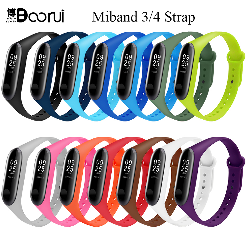 BOORUI Mi Band 3 Strap Miband 4 Straps Silicone Pure Colorful Miband 3 4 Accessories For Xiaomi Miband 3 4 Smart Bracelets