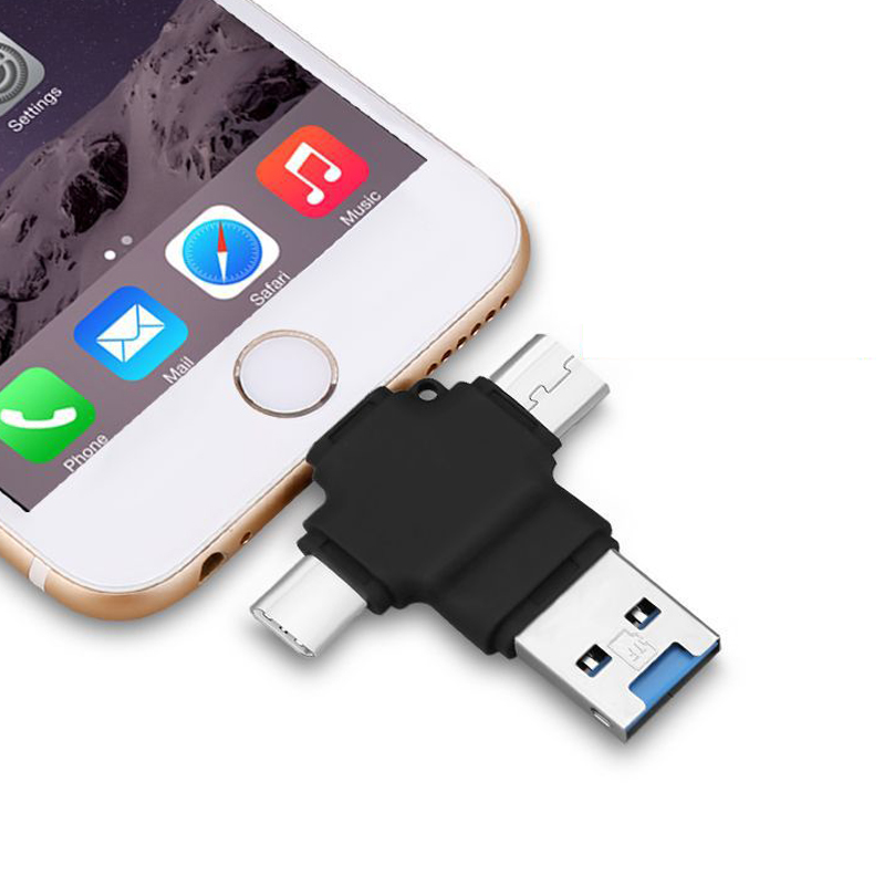 Multi In 1 TF Card Micro SD Card Reader For Apple Type C OTG Mobile Phone Card Reader For Android Lightning Type-C Port