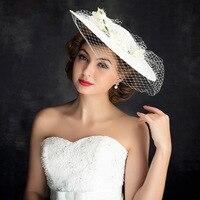 The new flower lace gauze hat hat headdress headdress accessories fashion bride continental retro handmade hat