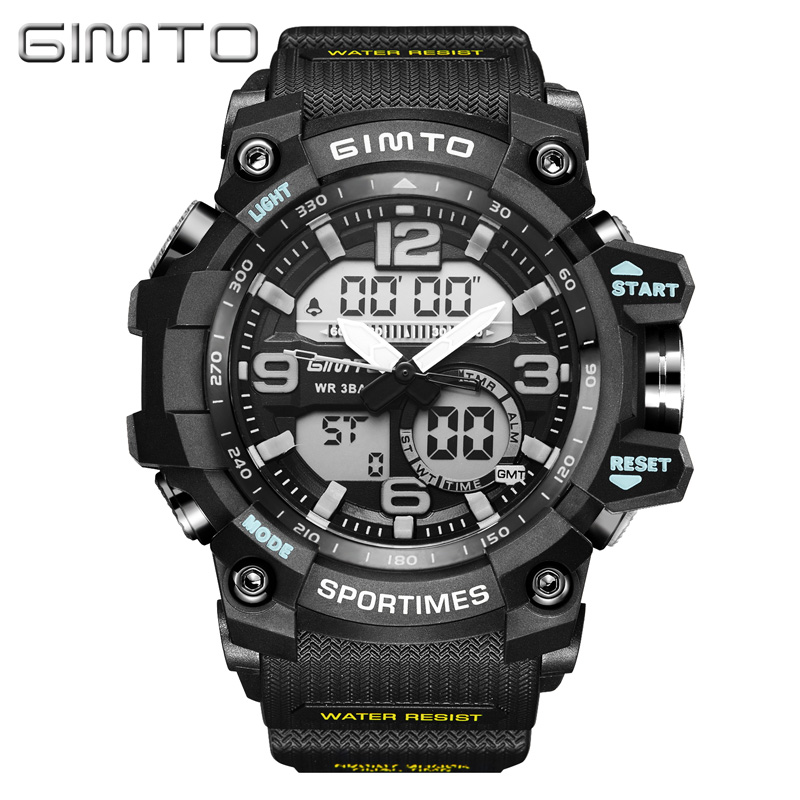 GIMTO Fashion Digital Sport Watch Men Brand Clock Diving LED Shock Watches Military Male Dual Time