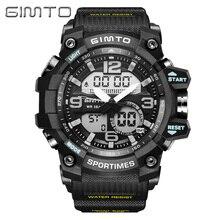 GIMTO Mode Numérique Sport Montre Hommes Marque Horloge Plongée LED Choc Montres Mâle Militaire Dual Time Montre-Bracelet Étanche Relogio