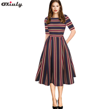 Oxiuly Casual Autumn Half Sleeve Apricot Stripes Patchwork Skater Dress Vestido de Festa