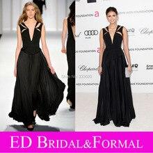Nina Dobrev Kleid zu Oscars Betrachtung Party Schwarz Jersey Schößchen Chiffon Abendkleid mit Ausschnitte Promi Formale Abendkleid