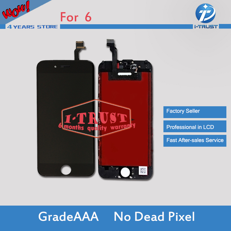 Prix pour 10 pcs/lot 100% pas de dead pixel aaa qualité pour iphone 6 lcd affichage et écran tactile digitizer assemblée remplacement bateau libre