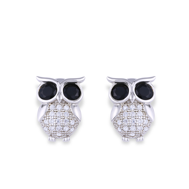 Us 3 79 24 Off Ocesrio Cubic Zirconia Owl Earrings For Women Rose Gold 585 Stud 925 Sterling Silver Jewelry Fashion 2019 Ers M22 In