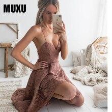 MUXU summer sexy red lace dress women vestidos womens clothing jurken clothes suspender dress backless sundress patchwork 2018