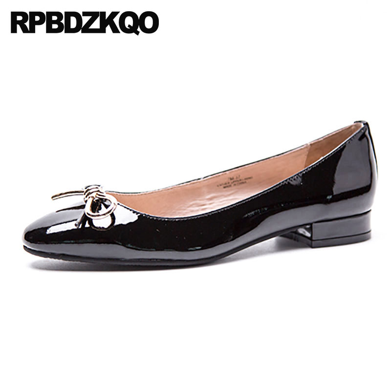 Patent   Leather     Suede   Black Round Toe Genuine Plain Chinese Bow China Women Flats Shoes With Little Cute Bowtie Kawaii Ladies