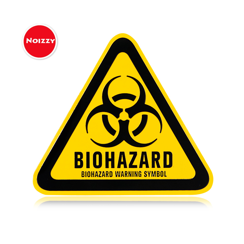 Noizzy Biohazard Warning Logo 3D Metal Car Auto Badge Resident Evil Umbrella Motorcycle Sticker Emblem Symbol Tuning Car-Styling auto chrome camaro letters for 1968 1969 camaro emblem badge sticker