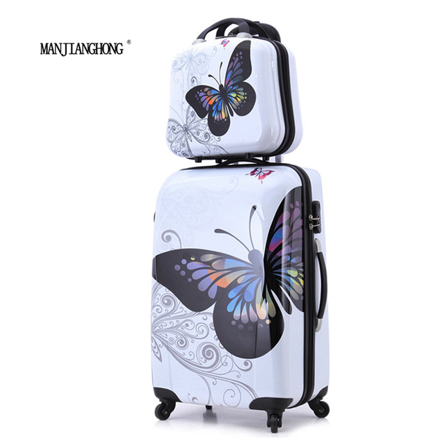 """20""""+12"""" amazing hot sales Japan butterfly ABS trolley suitcase luggage sets/Pull Rod trunk/traveller case box with spinner wheel"""