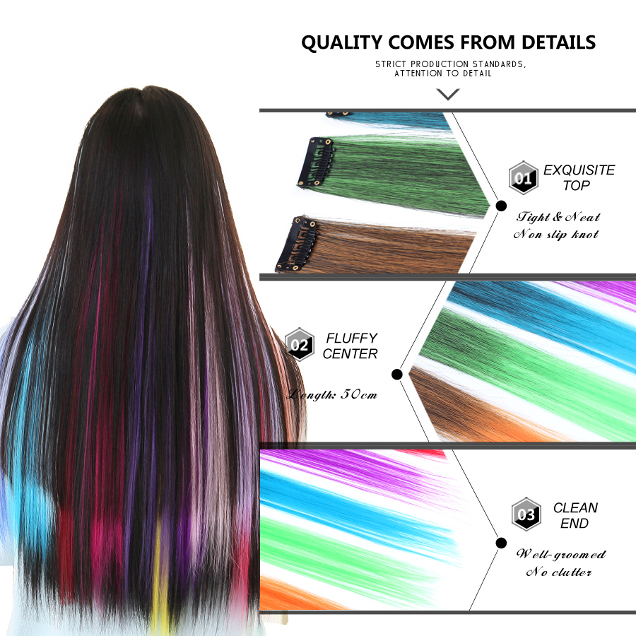 Leeons Long Straight Women High Temperature Synthetic Clip In Hair Extension Hairpiece Purple Pink Red Blue Rose Colorful Beautiful And Charming Synthetic Extensions
