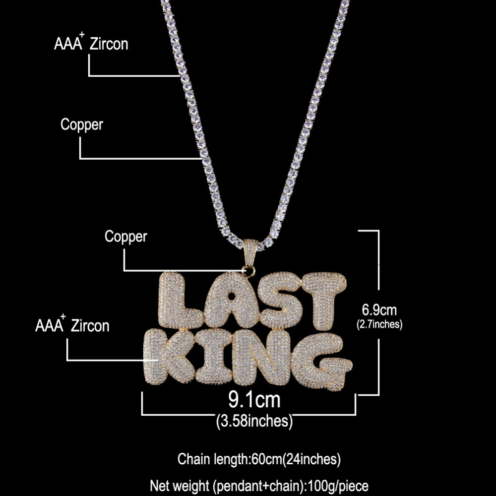 Custom Bubble Initial Letters Words Name OEM LINK Pendant Necklace With 4mm CZ Chain Full Iced Cubic Zirconia Jewelry