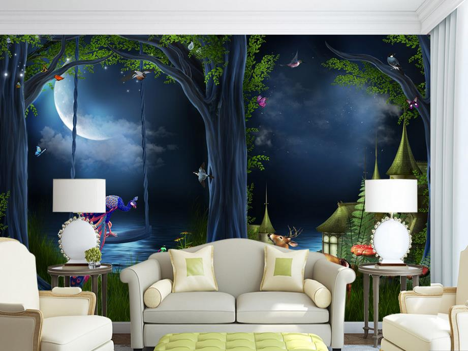 Custom wallpaper for walls 3 d photo Fairy tale forest moonlight background for living room bedroom 3d wallpaper wall mural custom wallpaper for walls 3 d photo wall mural pastoral country road tv walls 3d nature wallpapers for living room