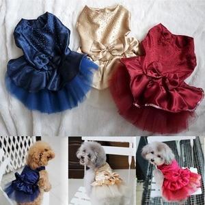 Image 1 - 夏犬服ペット犬の服犬のウェディングドレススカート子犬服の春のファッションジーンズペット服XS XXL