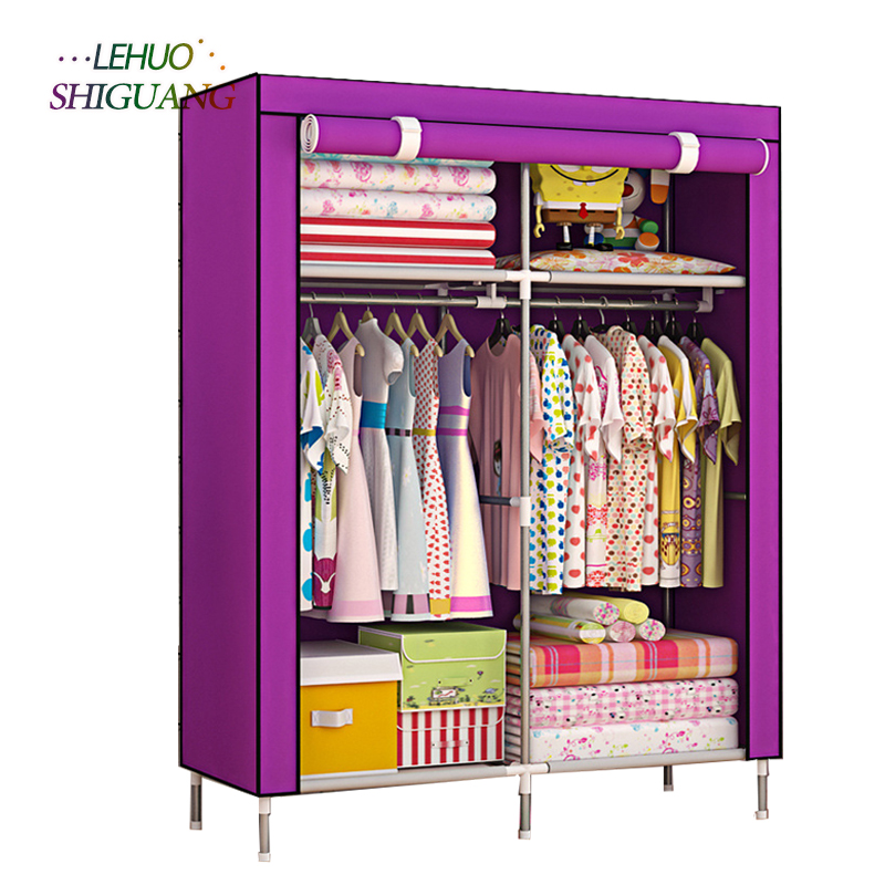 Fashion High foot Wardrobe Non-woven Steel frame reinforcement Standing Storage Organizer Clothes cabinet bedroom furniture large capacity wardrobe diy non woven foldable portable storage cabinet bedroom furniture minimalist modern 170x105x45cm
