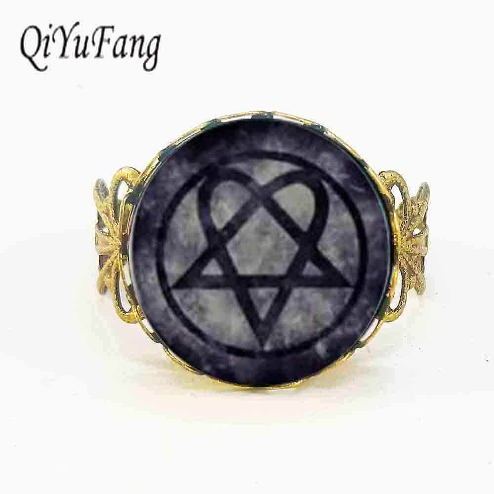 Free shipping Wholesale Glass Dome rock band HIM jewelry zinc alloy glass retro ring for rock fans