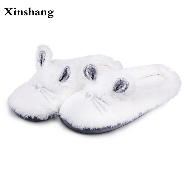 445481200ca Women Winter Home Slippers Cartoon Cat Home Shoes Non-slip Soft Winter Warm  Slippers Indoor Bedroom Loves Couple Floor Shoes