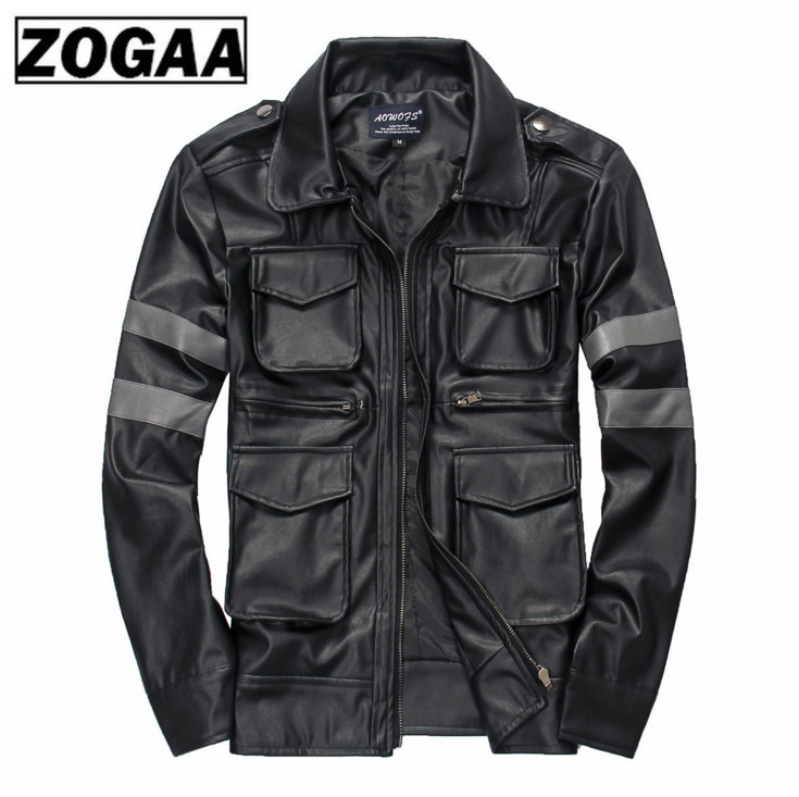 Turn Down Collar Short Men Leather Jackets Top Quality Pu Handsome Multi Pocket Motorcycle Leather Jackets Black Free Shipping