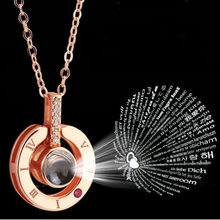 2019 NEW Rose Gold&Silver 100 languages I love you Projection Pendant Necklace Romantic Love Memory Wedding Necklace(China)