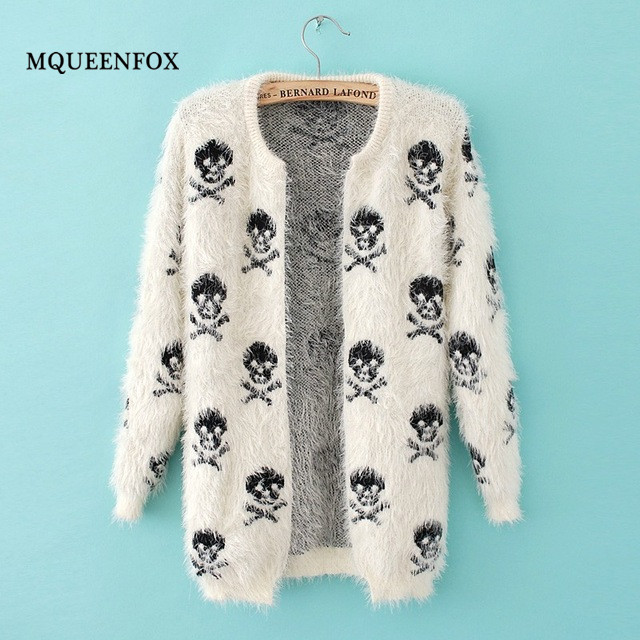 2019 Autumn New Women Cardigan Coat Fashion Skulls Knit Wool Sweater Warm Long Sleeve Loose Hippocampus Sweater Coat