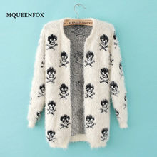 2019 Autumn new women cardigan coat fashion Skulls knit wool sweater warm Long sleeve loose hippocampus sweater coat(China)